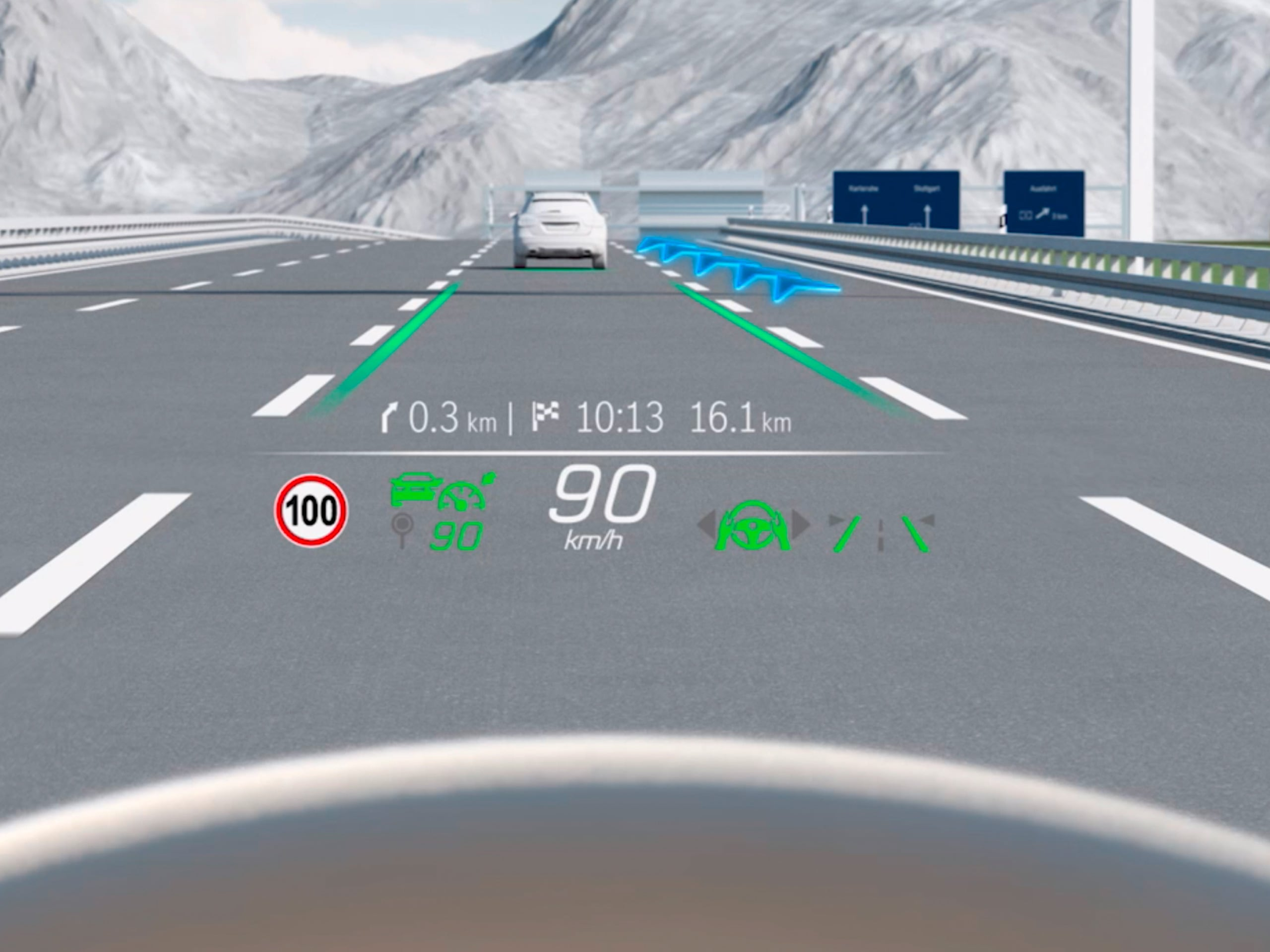 De video toont de werking van het head-up display van de Mercedes-Benz C-Klasse Limousine.