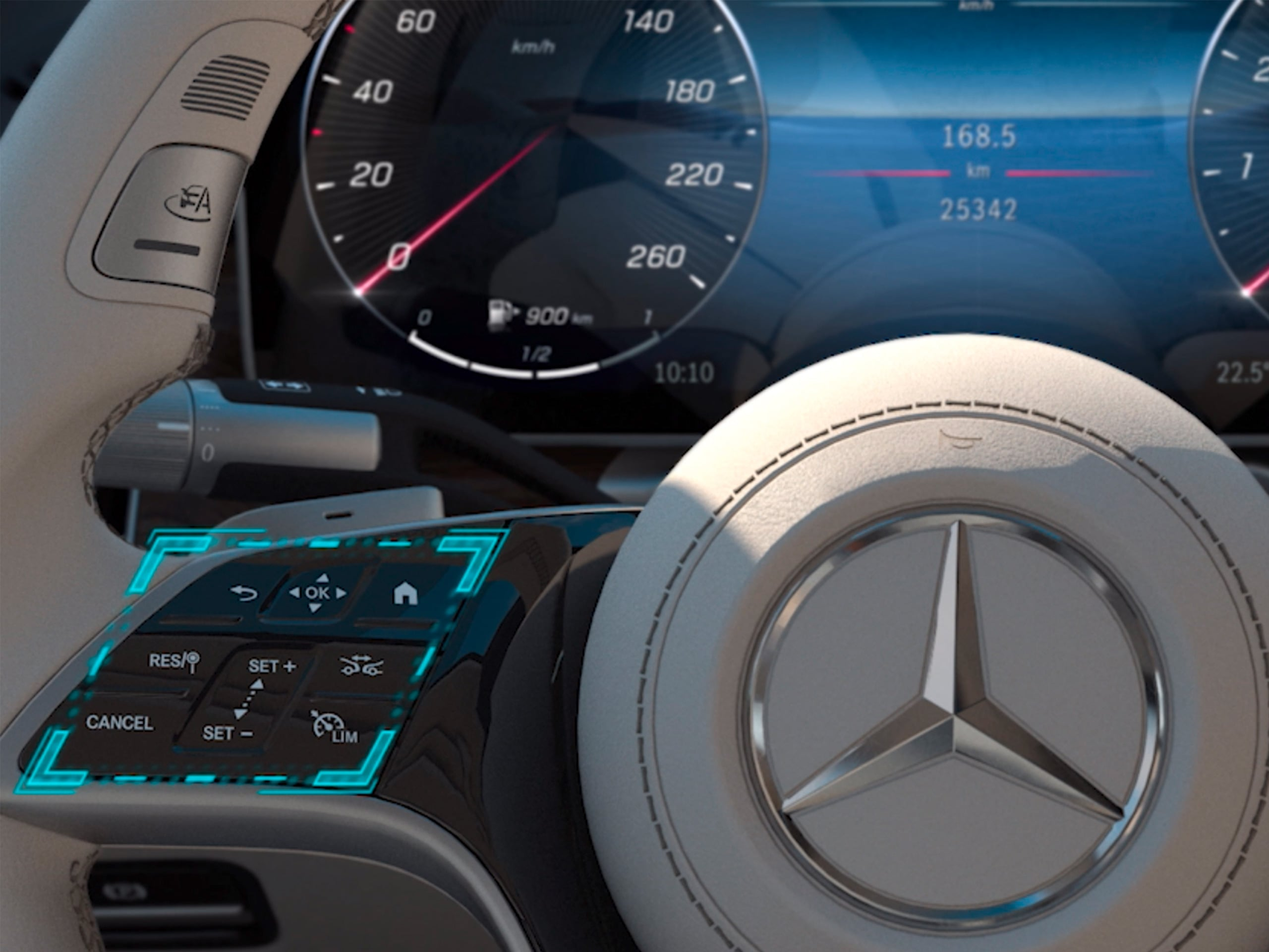 De video toont de werking van het MBUX-touchbedieningsconcept in de Mercedes-Benz C-Klasse Limousine.